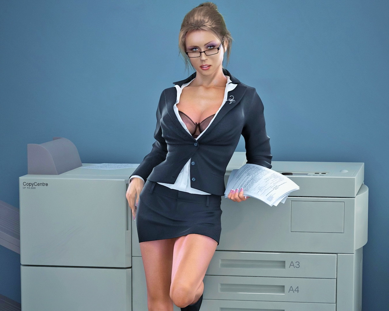 Hot blonde secretary deepthroats her boss's cock on a Monday morning  1455557
