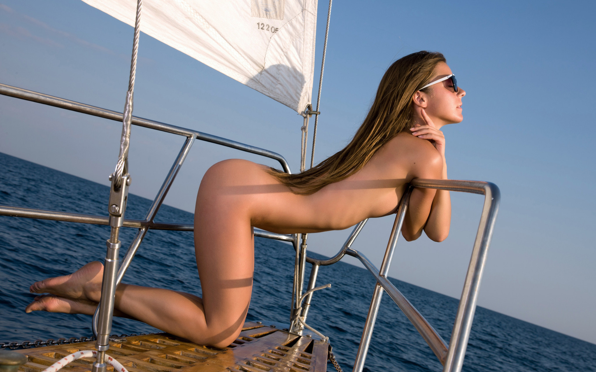Nude girls on the boat 4
